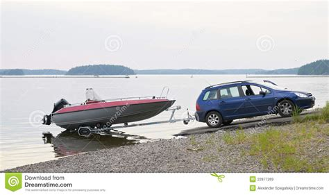 car boot trailer the car with a boat on the trailer royalty free stock