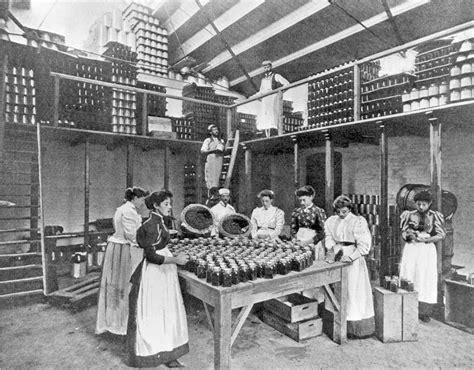 bottling room bottling room circa 1890 packing syrups and fruit delicacies into glass jars at a