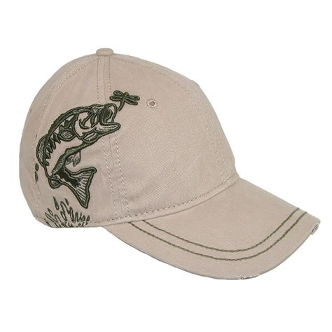 mens 3d embroidered bass fish baseball hat by dri duck