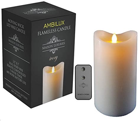 Emerson Flameless Candles With Timer by Ambilux By Maison Luxuries Moving Wick Unscented