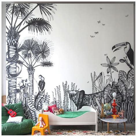 black and white jungle wallpaper kids rooms with tropical inspiration petit small