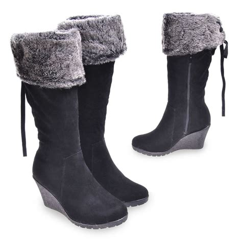 new womens black gorgeous fur lined faux suede mid calf