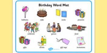 birthday themed words birthday word mat esl birthday vocabulary