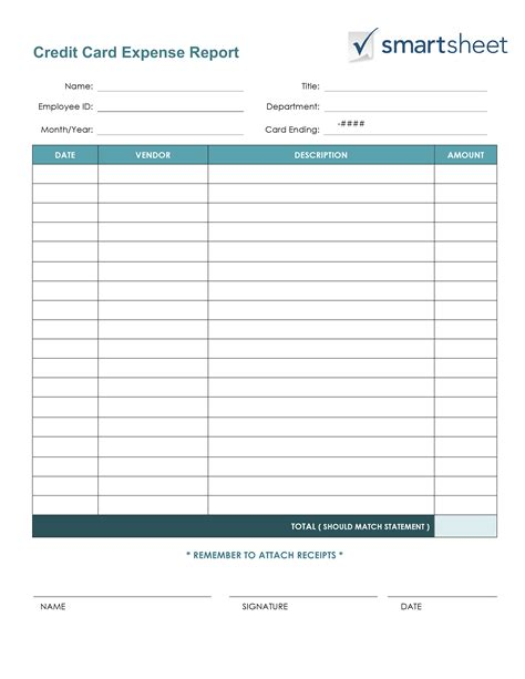 credit card report template free expense report templates smartsheet
