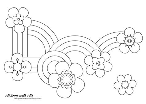 rainbow flower coloring page at home with ali flowers and rainbows colouring sheet