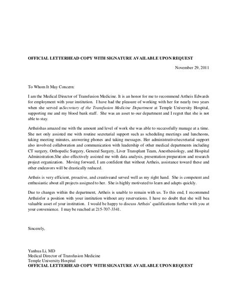 Reference Letter Signature Recommendation Letter For Artheis Yl