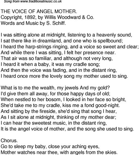 angle song old time song lyrics for 36 the voice of angel mother