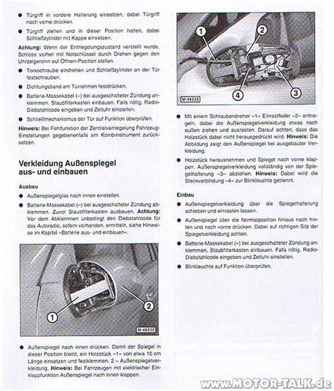 Motorrad Spiegel Wechseln Anleitung by Aussenspiegelsp9 Wechseln Des Blinkers Im Au 223 Enspiegel