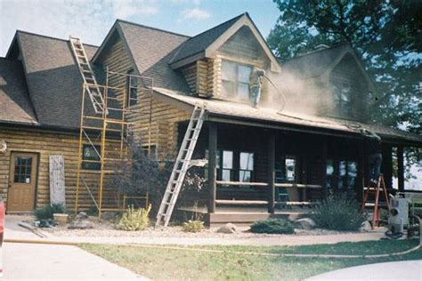log home restoration wisconsin maintenance corn blasting