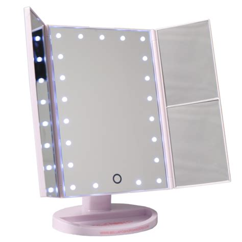 Portable Vanity Mirror by Three Panel Portable Led Vanity Mirror Bellaposh Organizers