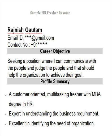 hr fresher resume format doc 42 professional fresher resumes sle templates