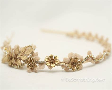 Hochzeitsschmuck Gold by Vintage Lace And Gold Rhinestone Headband Tiara With Gold