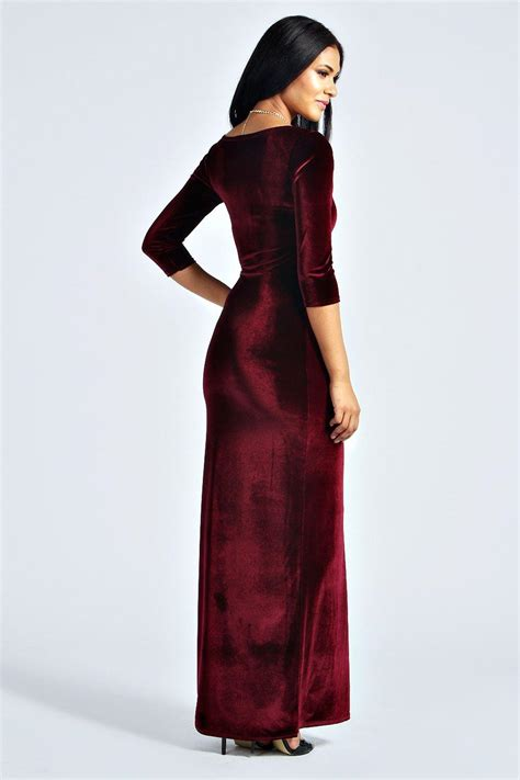 Longdress Velvet boohoo womens velvet sleeve maxi dress ebay