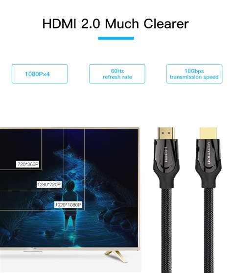 Vention Kabel Hdmi 1m 4k 60 Fps Hdmi 2 0 Limited vention hdmi cable hdmi to hdmi cable hdmi 2 0 4k 3d 60fps cable for hd tv lcd laptop ps3