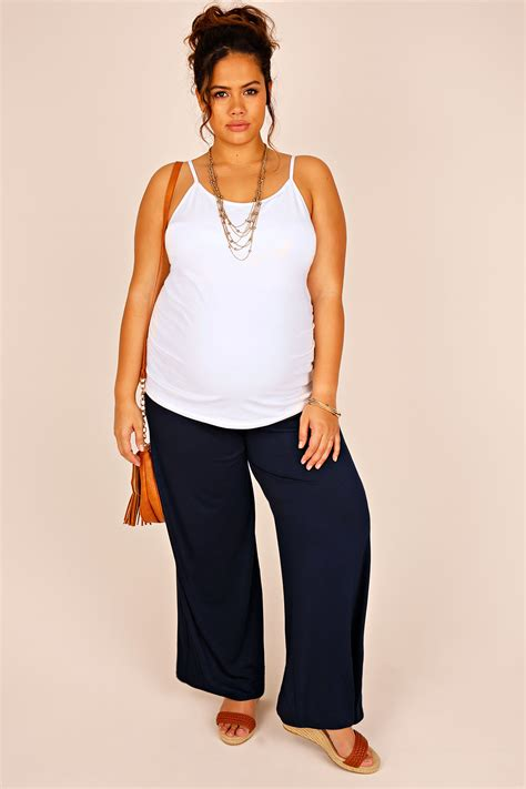 Asda Gift Card Register - bump it up maternity navy palazzo trousers with comfort panel plus size 16 to 32