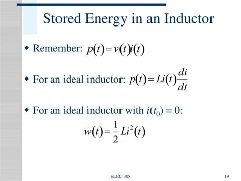 energy stored in a inductor ppt energy storage elements capacitance and inductance powerpoint presentation id 392142