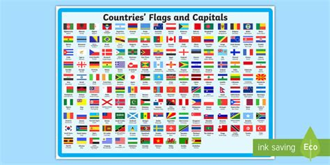 flags of the world ks2 flags and capitals display poster flag country world