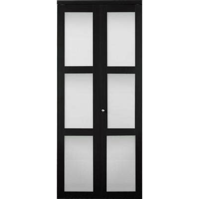 Glass Closet Doors Home Depot Truporte 3100 Series 3 Lite Tempered Frosted Glass Espresso Composite Interior Bifold Closet