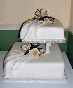 2 tier square cake with pleated drape icing_lightbox?1269174659 2 tier square wedding cake on birthday cakes solihull birmingham