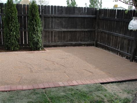 how to make a pea gravel patio aka quot trail mix quot patio once you water it it dries