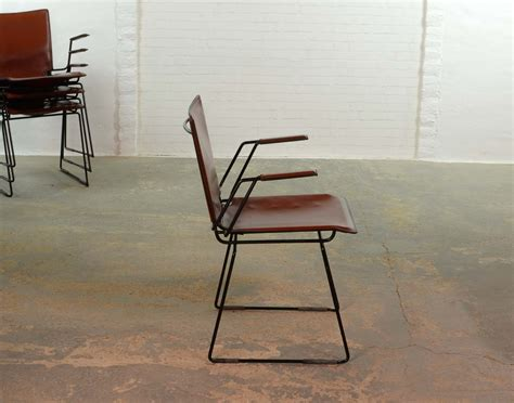 Steel Frame Dining Chairs Italian Leather And Enameled Black Steel Frame Dining Chair Set Of 4 Hpvintage