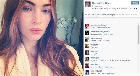 filter captions megan fox joins instagram posts stunning makeup free selfie