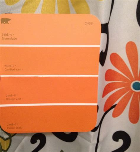 behr orange color pallet leaning toward carrot stick bottom color room