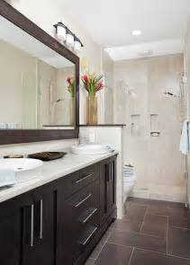 long and narrow guest bath transitional bathroom