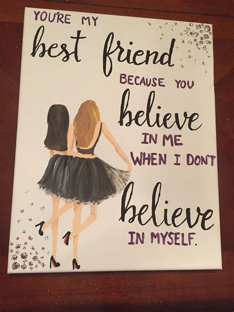 Top 7 Gifts For Your Bff by Canvas For Best Friend Quote Painting Diy My Sorority
