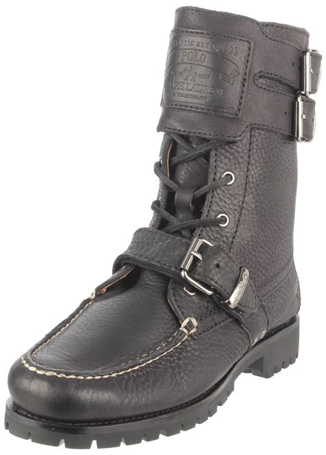 black polo boots polo ralph mens brockton buckled boot in