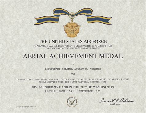 air achievement medal template aerial achievement medal certificate replacement