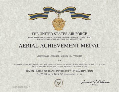 aerial achievement medal certificate