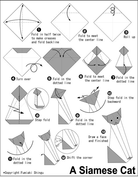 Cat Origami Diagram - cat origami diagram origami a siamese cat easy origami