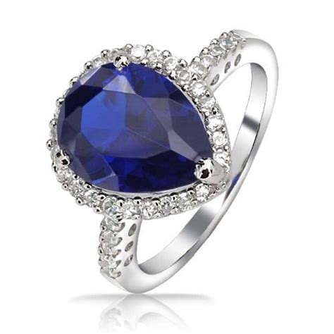 925 silver teardrop blue sapphire color cz engagement ring 3ct