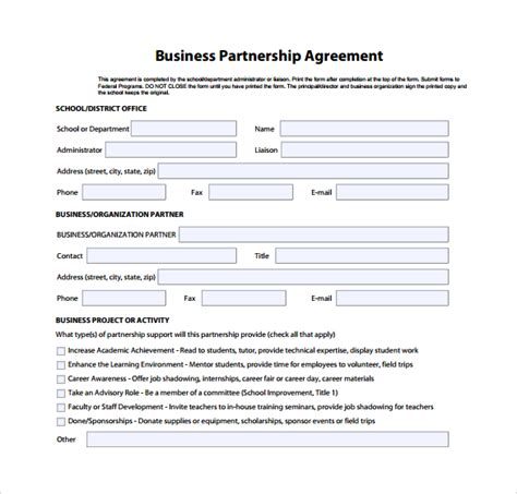 free business partnership agreement template sle business partnership agreement 9 documents in