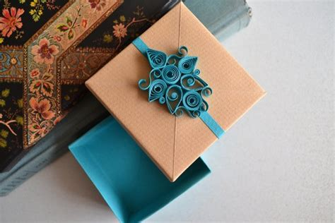 Turquoise Origami Paper - turquoise quilling origami gift box by reversecascade on