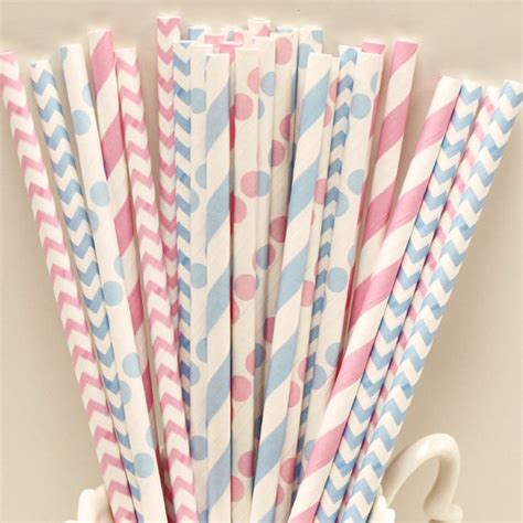 How To Make Paper Straws - paper straws 25 baby gender reveal paper straws chevron
