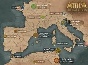 Total war attila shows last roman campaign map faction details