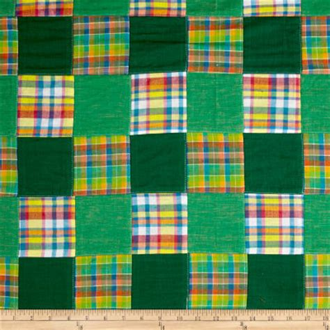 Patchwork Madras Fabric - madras patchwork plaid green yellow pink discount