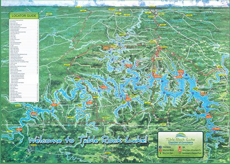 lake map table rock lake chamber of commerce mo