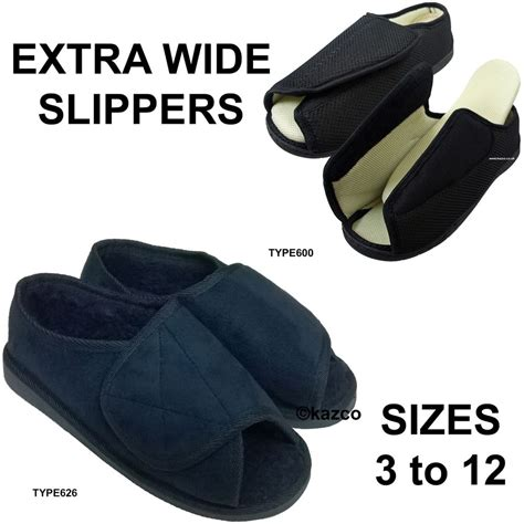 womens size 12 house slippers ladies mens womens velcro extra wide diabetic slippers size 3 12 fleece lined ebay