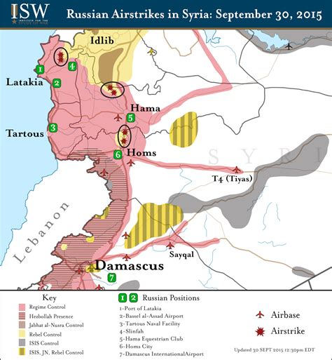 russia updated map isw russia s reported air strikes in syria