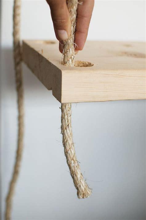 diy hanging rope shelves  images hanging rope