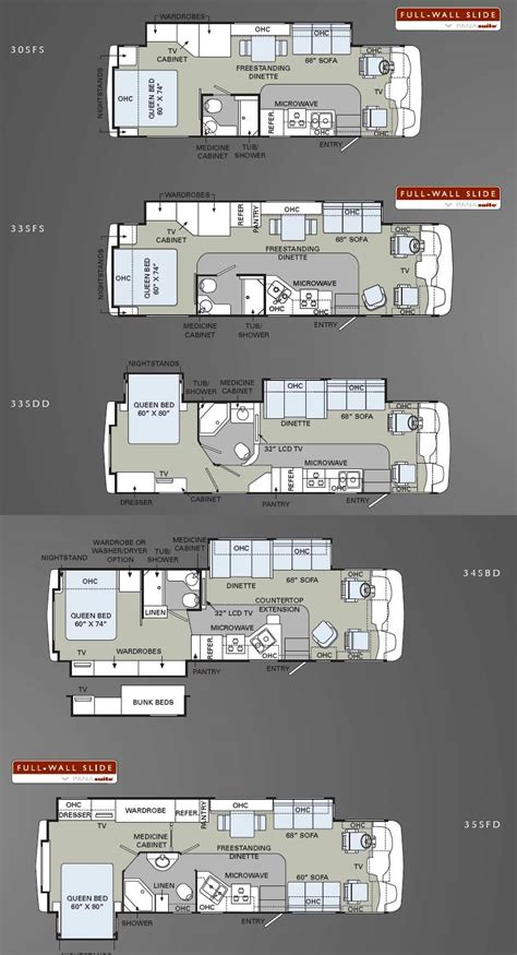 holiday rambler floor plans holiday rambler admiral class a motorhome floorplans