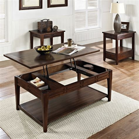 Distressed Coffee Table Set Steve Silver Crestline 3 Coffee Table Set In Distressed Walnut Beyond Stores