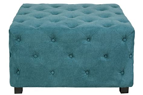 tufted teal ottoman duncan large tufted teal cube ottoman at gardner white