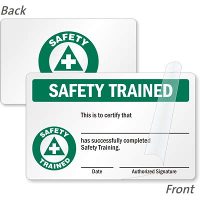 wallet size certification card template 2 sided safety trained certified card wallet