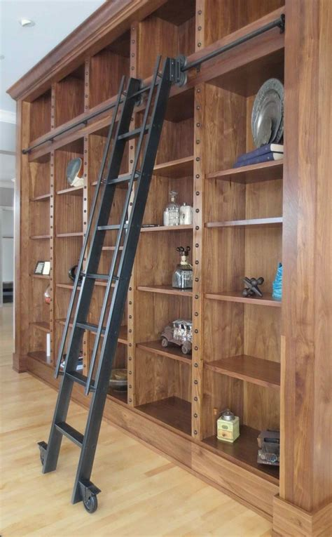 library style bookcase with ladder custom steel rolling library ladder by andrew stansell