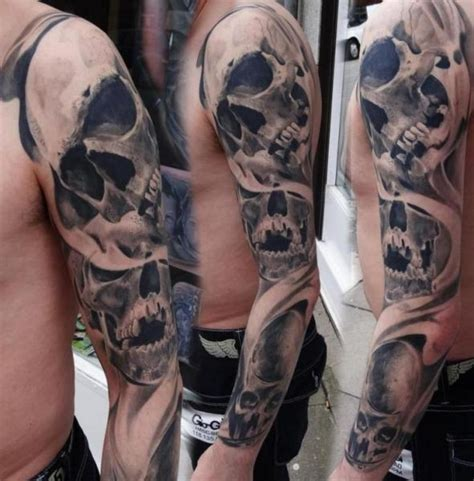 skull sleeve tattoo by piranha tattoo supplies