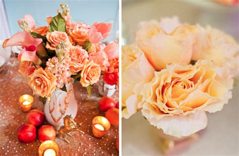 peach and gold romantic wedding flower inspiration roses peach and gold